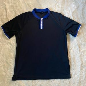 Men's Oakley Shirt, Navy with White and Royal Trim